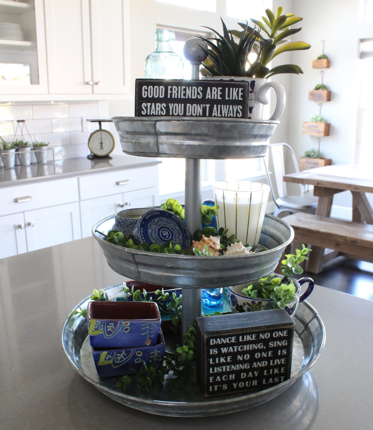 farmhouse tiered tray decor