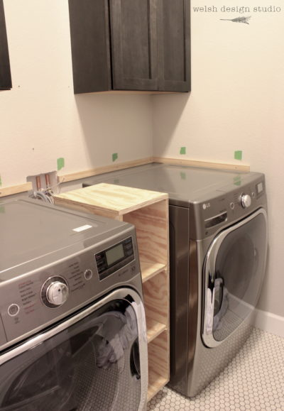 laundry room butcher block countertop support
