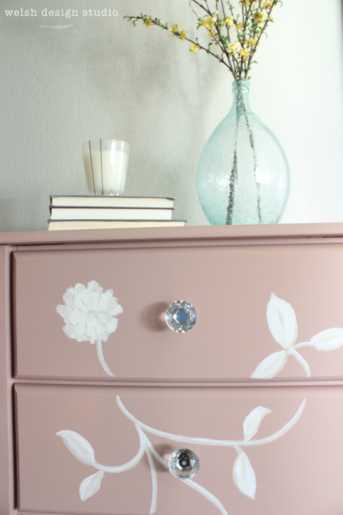 pink painted floral chest of drawers