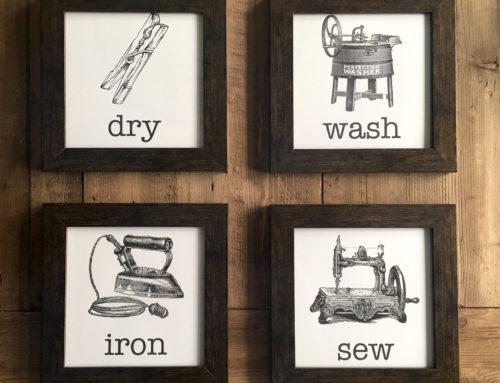 Easy Vintage Laundry Room Artwork & Free Printables